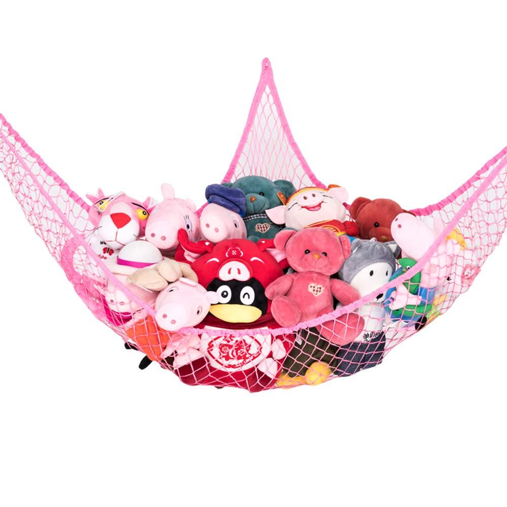 Pink 1 Piece Stuffed Animal Toy Storage Hammock Net Goodhelper 70 inch Extra Large Jumbo Mesh Toy Net Toy Hammock Wall Sling Corner Mesh Nets for Kids Toys