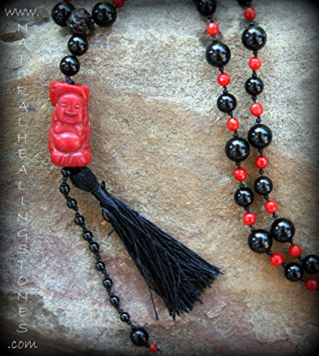 98 bead mala necklace made up of Coral, Onyx, Rudraksh beads and Czech glass. ONE OF A KIND JEWELRY FOR THE MEDITATIVE SPIRIT Free Shipping (Sedona Onyx)