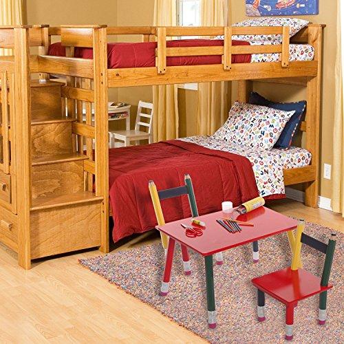 Multicolored Wood Pencil Design Decorative Childrens Room Furniture /  Classroom Kids Table U0026 2 Chairs Set