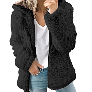 e55992cc41c Ulanda Women s Long Sleeve Thick Hooded Open Front Cardigan Autumn Winter  Warm Fuzzy Fleece Jacket Coat