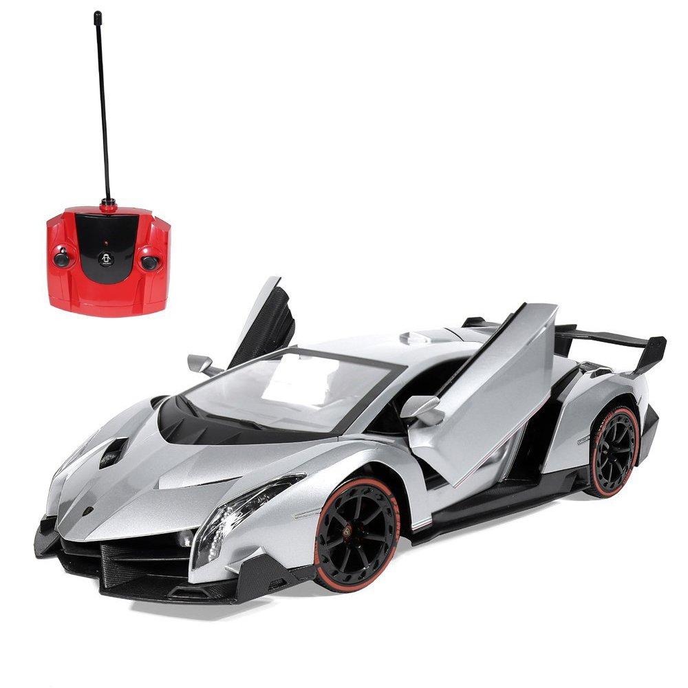 Amazon.com: RW Radio Remote Control Lamborghini Veneno RC Car 1 14  Scale,Silver: Toys U0026 Games