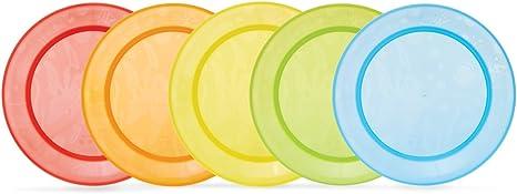 Munchkin - Pack de 5 platos para comida, surtido de colores: Amazon.es: Bebé
