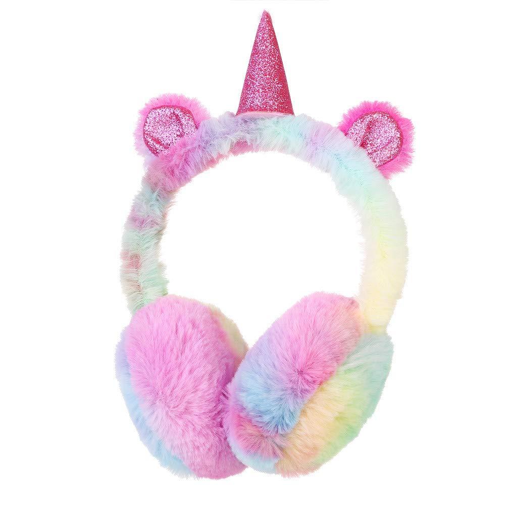 Susulv Orejeras para niñ os de Invierno Unicornio Orejeras de Dibujos Animados Color de Degradado Bolso del oí do Caliente (Color : A)