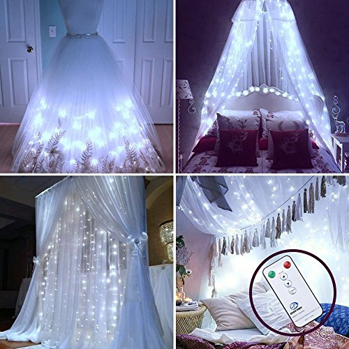 DLIUZ Remote Control 304 LED Curtain Lights UL Safe Christmas Fairy String Lights with 8 Modes for Wedding Party Garden Family Holiday Decorations (White)