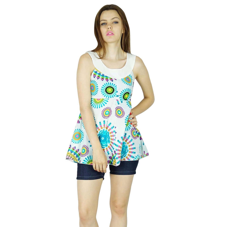 Sommer Frauen Boho Oben Ärmellos Gedruckt Hippie Kleidung Lässig Tunika Sommerkleid