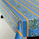Amelie Michel Wipe-Clean French Tablecloth in Blue Olives | Authentic French Acrylic-Coated 100% Cotton Fabric | Easy Care, Spill Proof [60' x 96' Rectangle]