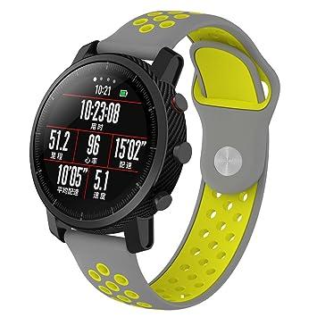 Correa de reloj Xiaomi Huami Amazfit, pulsera de silicona XIHAMA de silicona de ajuste rápido Sport Fitness para 22 mm reloj elegante universal: Amazon.es: ...