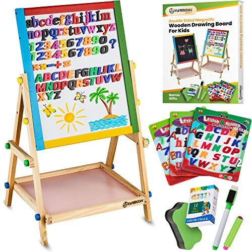 YARMOSHI Blackboard / Whiteboard Easel, Sturdy, Double-Sided, Adjustable, Fixed Bottom Tray, Magnetic Sponge, Marker Pen and Upper and Lower Case Letters and Numbers,12 Chalks - Toddlers Learning Play (Learning Easel)