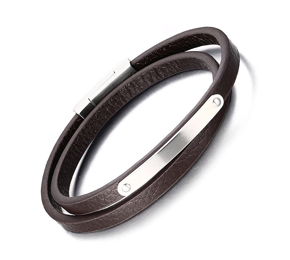 VNOX Customized Double Wrap Genuine Leather Magnetic Bracelet with Magnet Clasp for Men Women,7.8