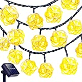 Goodia Solar String Lights, 20 Feet 30 LED Rattan Ball Fairy Lights with Waterproof Solar Panel & 2 Lighting Modes for Outdoor Patio Lawn Garden Christmas Party Decorations, Warm White