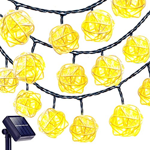 Goodia Globe String Lights, 20ft 30 LEDs Rattan Ball Lights Solar Powered Starry Fairy Lights Warm White, Event Decorative Lighting for Home, Garden, Party, Wedding, Christmas (Ball Rattan Diy Lights)