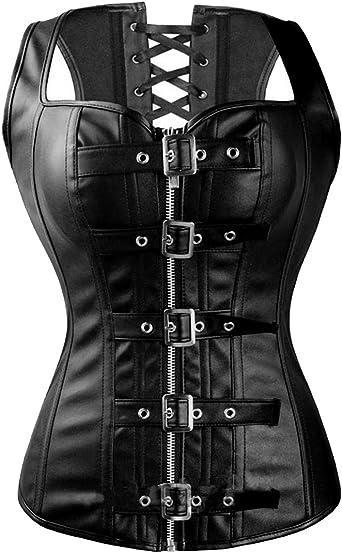 Details about  /Women Black Punk Boned Waist Training Shaper Corset Overbust Lace up Bustier Top