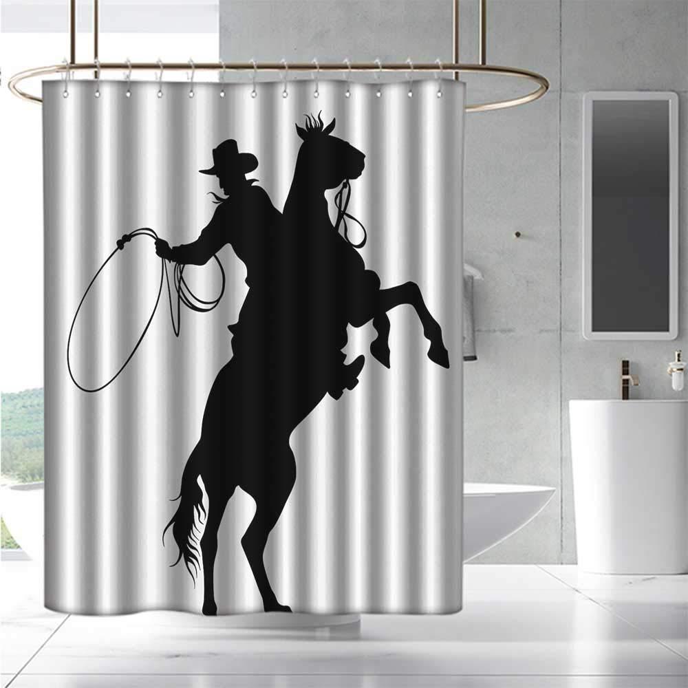 Black White Shower Curtain Dog Horse Friend Print for Bathroom