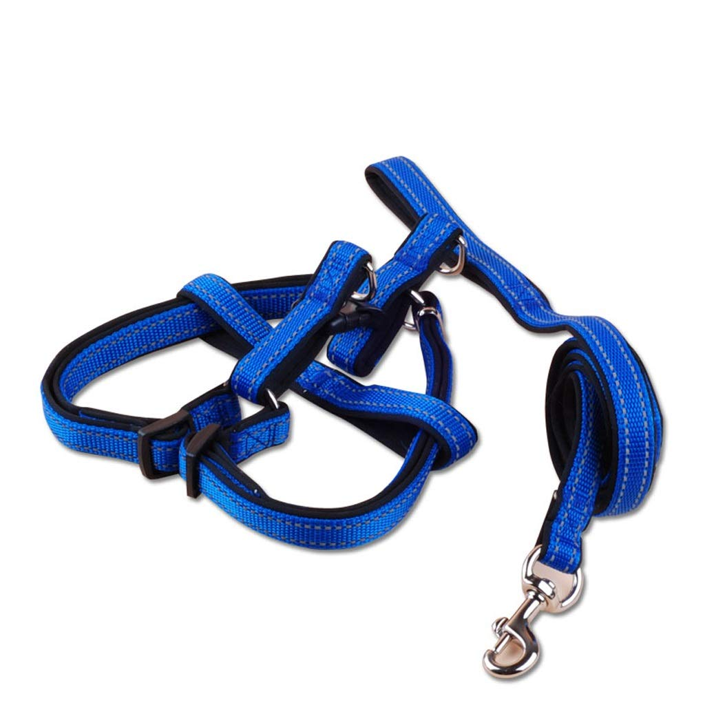 bluee L bluee L LZRZBH Pet Supplies Reflective Dog Leashes Pet Chest Straps Rope Teddy Dog Chain Small Dog Chain Dog Rope Pet Leash Rope Length 120cm (color   bluee, Size   L)