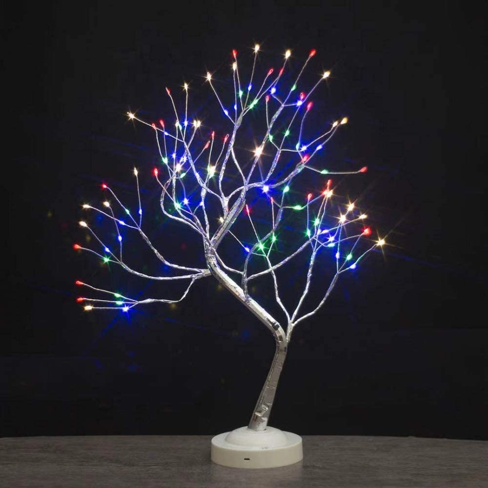 "FOAMICHI 20"" Tabletop Bonsai Copper Wire Tree Light, Upgraded Artificial Tree Lamp with Eight Functions Perfect Decor for Home Decor, Wedding Festival (Multicolor)"