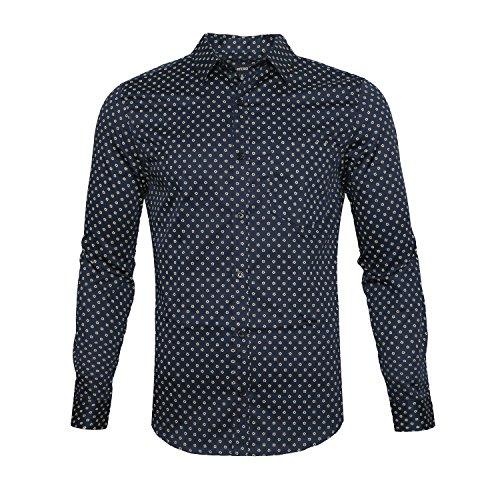 NUTEXROL Men's Casual Slim Fit Cotton Polka Dots Long Sleeve Dress Shirts Navy2 M