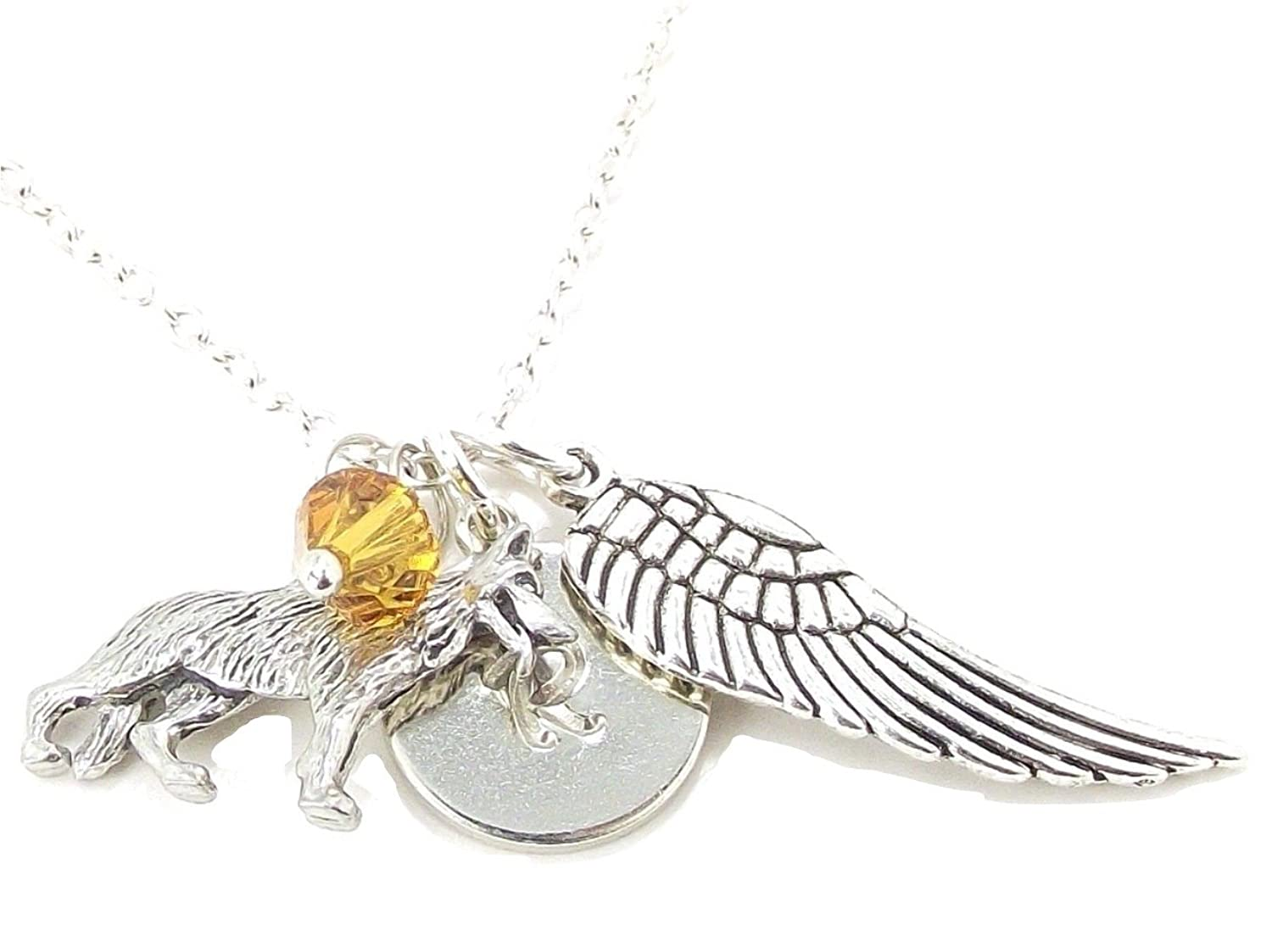 """Personalised Initial 18/"""" Necklace Guardian Angel Wing /& Silver Plated Letter"""