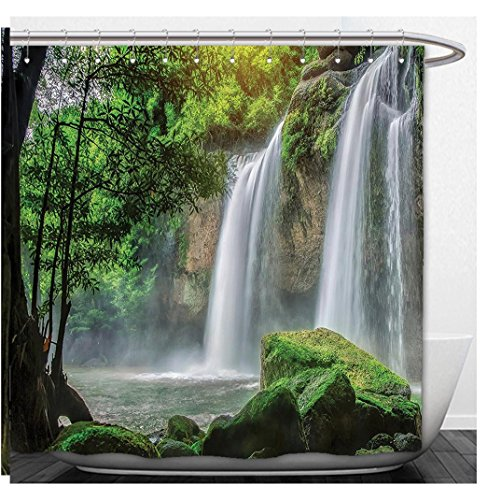 Beshowere Shower Curtain Waterfall Decor CascStream in Exotic North Asian National Park Paradise Surreal Print White - North Macys Park
