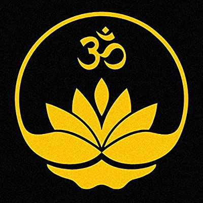 Lotus Flower with Om Symbol Vinyl Car Window Decal Sticker (yellow): Automotive