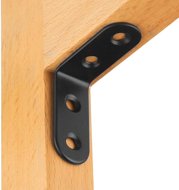 Furniture 90 Degree Angle L Shaped Shelf Bracket for Wood ORIGA 50 PCS Black L Bracket Shelves 25mmx25mmx19mm Stainless Steel Heavy Duty Corner Brace Joint Fastener Cabinet and More