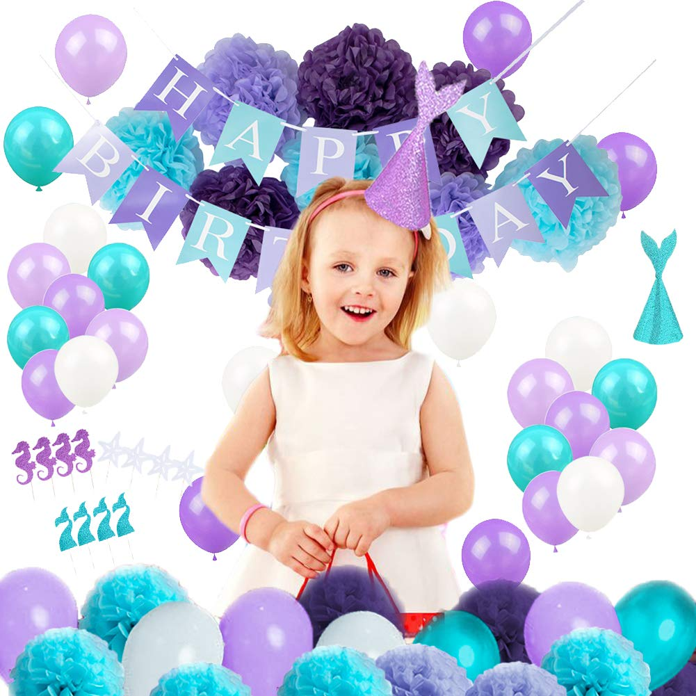 Luxanna Mermaid Theme Party Supplies Decorations Tissue Paper Pom Poms Birthday Party Baby Shower Decorations 76 Pack (Purple)