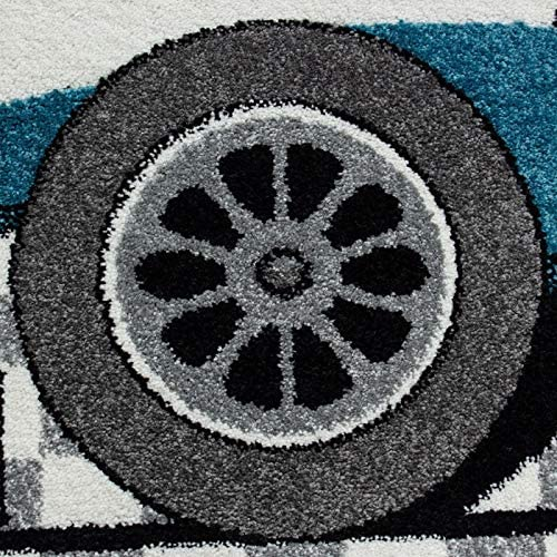 Ayyildiz Tapis Enfant Formule 1 Voiture de Course Kids 0460 Bleu 80x150 cm