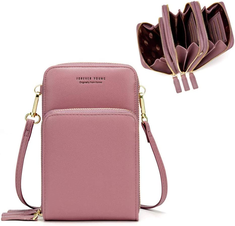 Bolso de teléfono móvil para mujer Monedero de cartera cruzada Mini bolso de teléfono celular cruzado de cuero ligero con ranuras para tarjeta de correa(Rosado)