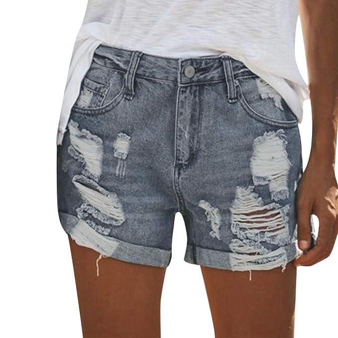 l'ultimo 217a4 c552a TianWlio Pantaloncini Donna Jeans Vita Alta Corti Strappati ...
