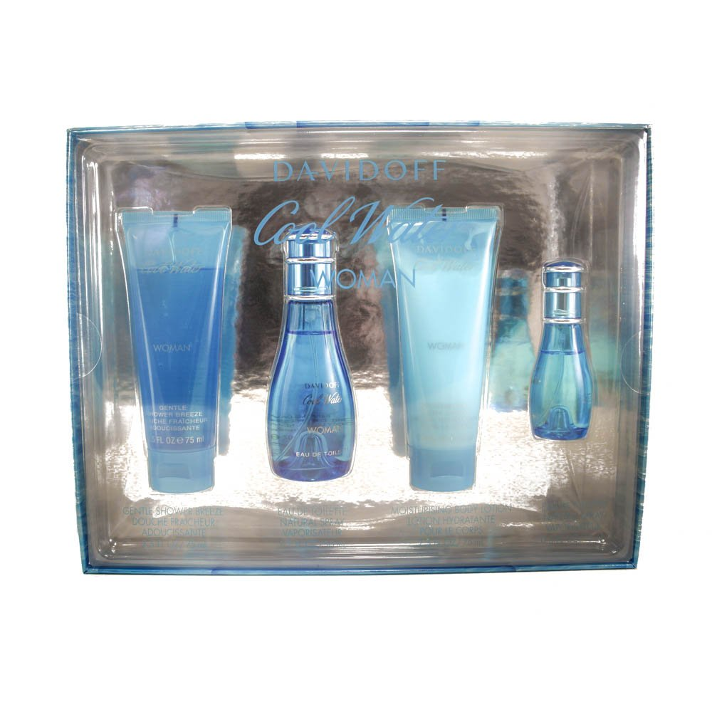 Zino Davidoff Cool Water 4 Piece Gift Set (Eau De Toilette Spray 1.7 Oz & Body Lotion 2.5 Oz & Shower Breeze 2.5 Oz & Eau De Toilette Spray 0.5 Oz.) for Women, 1.7 fl. Oz. CO412