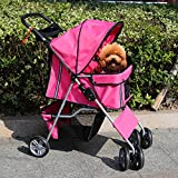 Kinbor Four Wheel Pet Stroller - Cat Dog Walk Travel Foldable Folding Carrier Strolling Cart (red)