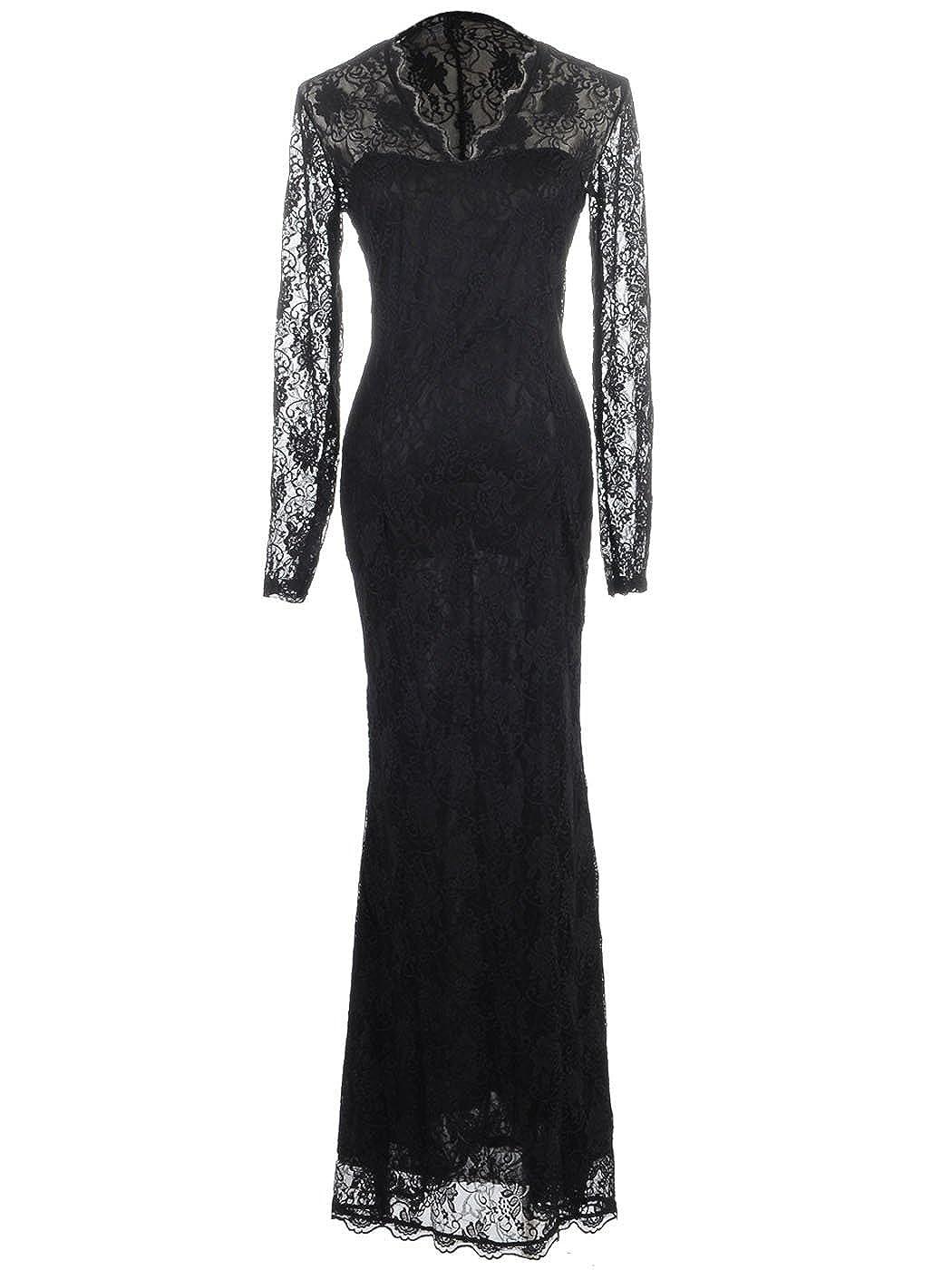 Anna-Kaci Womens Black Gothic Floral Lace Long Sleeve Maxi Evening ...
