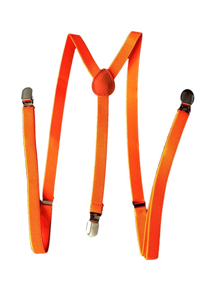 JTC Solid Color Kids Elastic Adjustable Suspenders Braces Y Back 6 Colors
