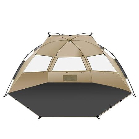 TAGVO Pop Up Beach Tent Sun Shelter Easy Set Up Tear Down, Portable Instant Lightweight Beach Baby Canopy, UPF 50 Plus Sun Protection 3 Mesh Screen Windows Good Ventilation Sports Sun Shade