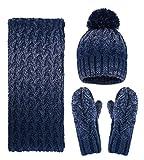 Women Girls Fashion Winter Warm Knitted Hat Beanie Hat Scarf Set