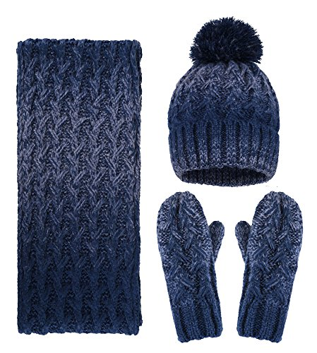 Mitten 3 Set Piece (Arctic Paw Adult 3 Piece Winter Mitten Hats and Scarves Set, Navy)