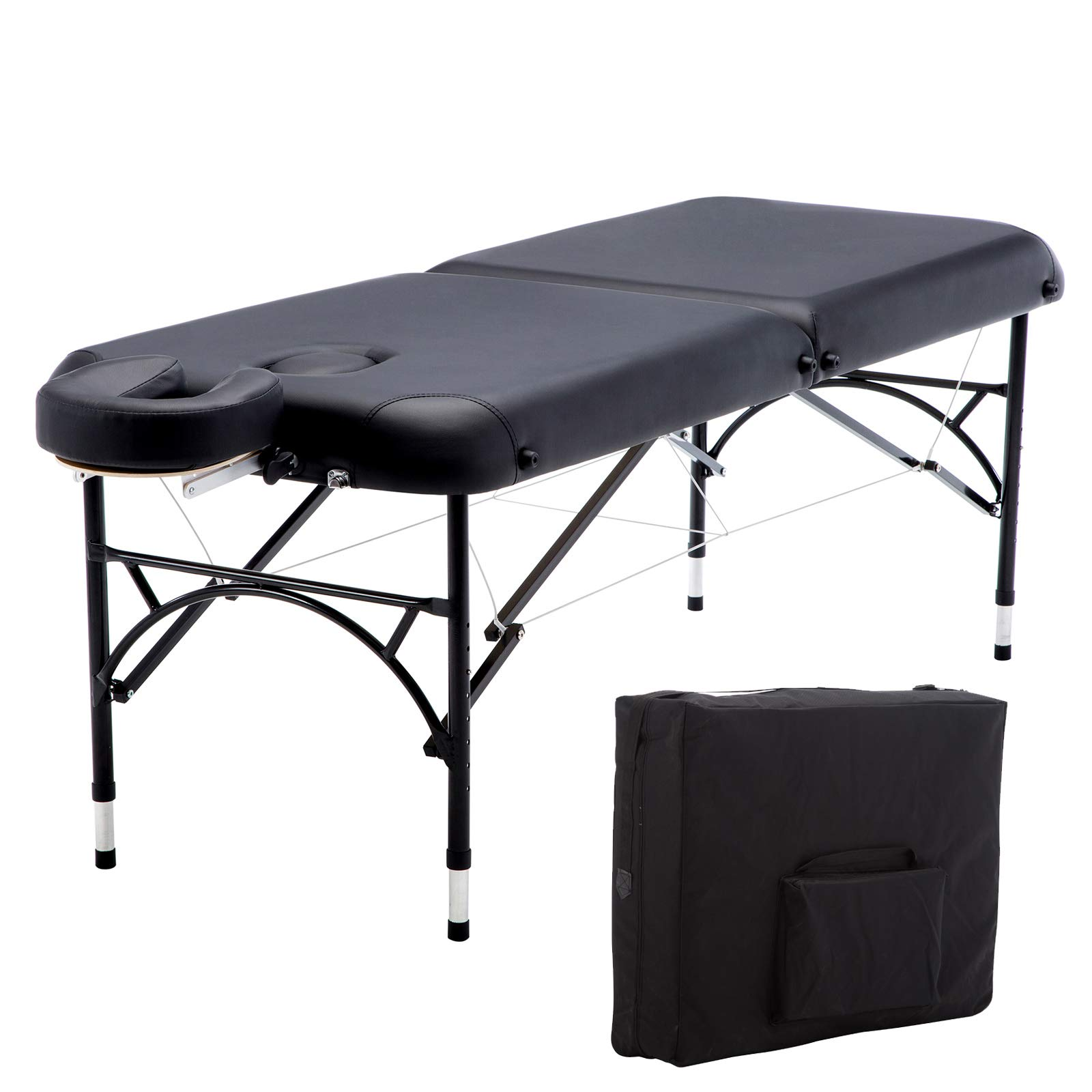 Artechworks 84'' Professional 2 Folding Portable Lightweight Massage Table Facial Solon Spa Tattoo Bed With Aluminium Leg(2.56'' Thick Cushion of Foam)
