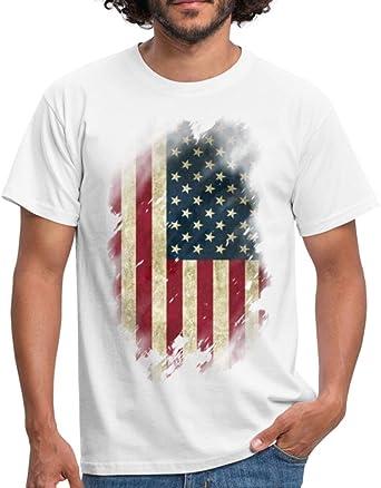 Bandera de los Estados Unidos Vintage - Camiseta para Hombre Blanco 3XL: Amazon.es: Ropa y accesorios