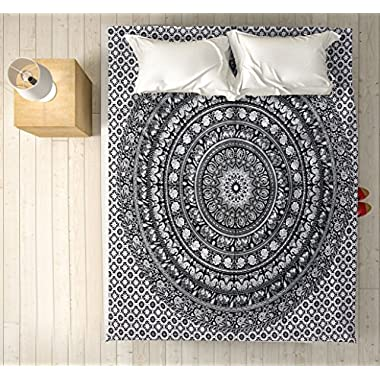Classic Indian Black and White Printed Bohemian Ombre Mandala Jaipur Tapestry