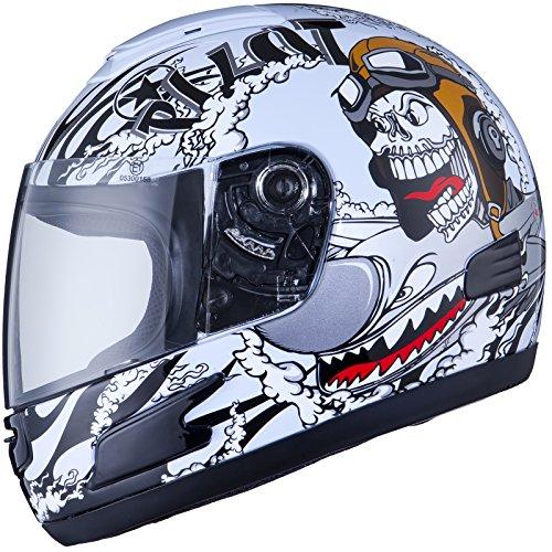 THH TS-31Y #7 Pilot Kinder Jugend Motorrad Roller Integralhelm M Himmel Blau/Schwarz (Weiß/Schwarz)