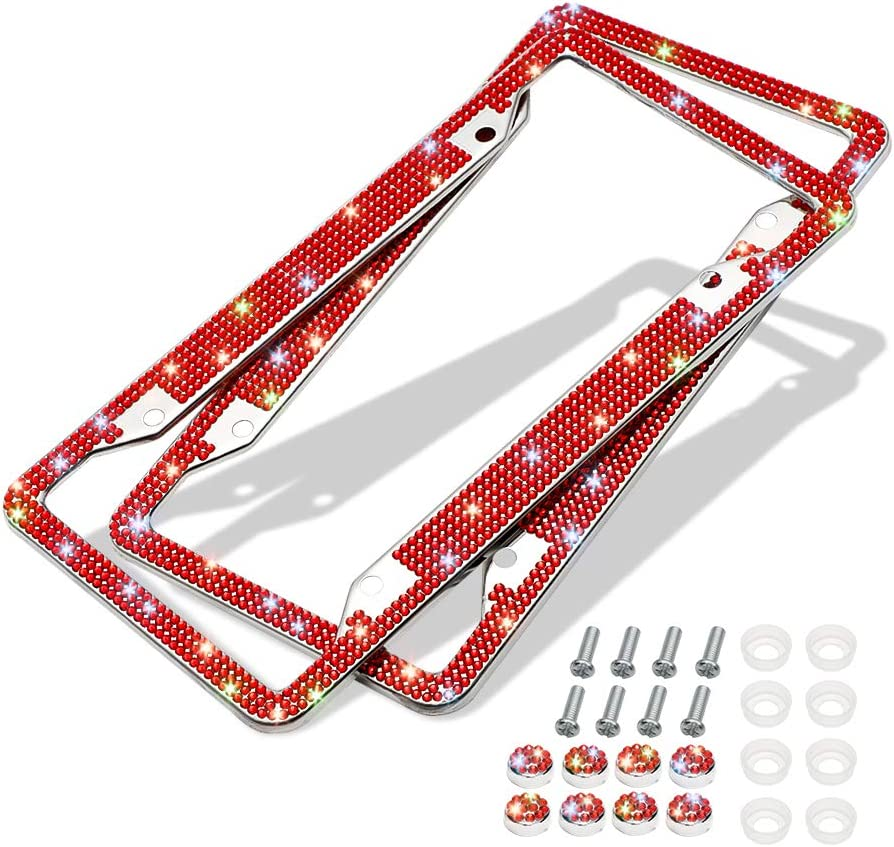 Red 6 Rows 4 Holes Otostar Bling Bling Car License Plate Frame 2 Pack Handmade 8 Facets Rhinestones Stainless Steel License Plate Holder Cover with Screws Caps