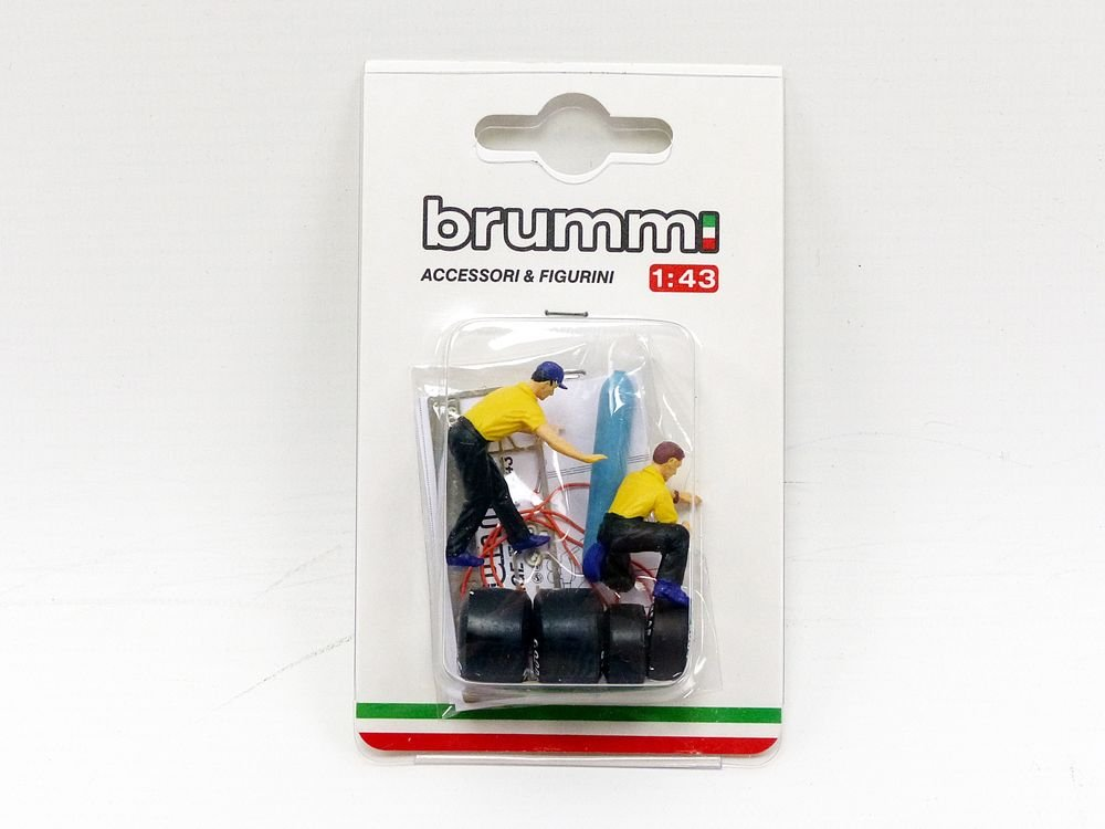 Brumm - Ferrari 2 Mecaniciens neumáticos 126 C2 - 1982 - Escala 1/43, F091, Amarillo/Negro: Amazon.es: Juguetes y juegos