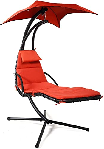 Sandinrayli Hanging Lounger Chaise Porch Swing Hammock Chair Arc Stand