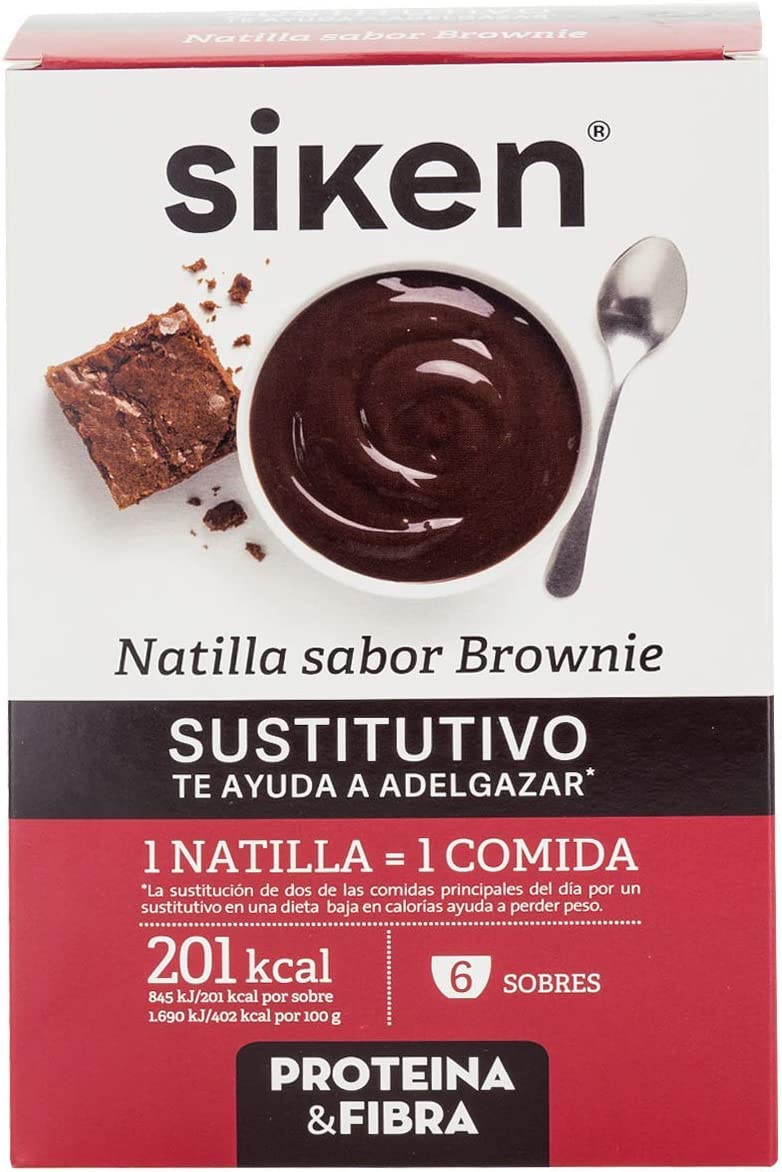 SIKEN SUSTITUTIVO - Natillas sustitutivas, Sabor brownie, 6 sobres en polvo para mezclar con agua, Rico en fibra, vitaminas y minerales, 1 natilla ...