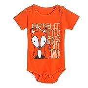 Newborn Infant Baby Boys Girls CartoonFox Printed Romper Short Sleeve Jumpsuit Outfits Clothes (9-12M, Orange)