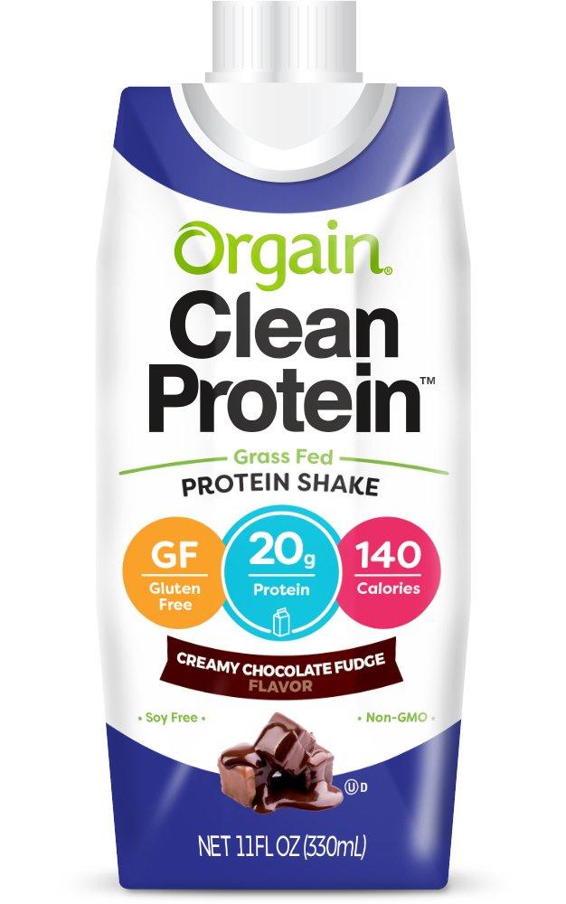 Orgain Grass Fed Protein Shake, Creamy Chocolate Fudge, Non-GMO, Gluten Free, 11 Ounce, 12 Count