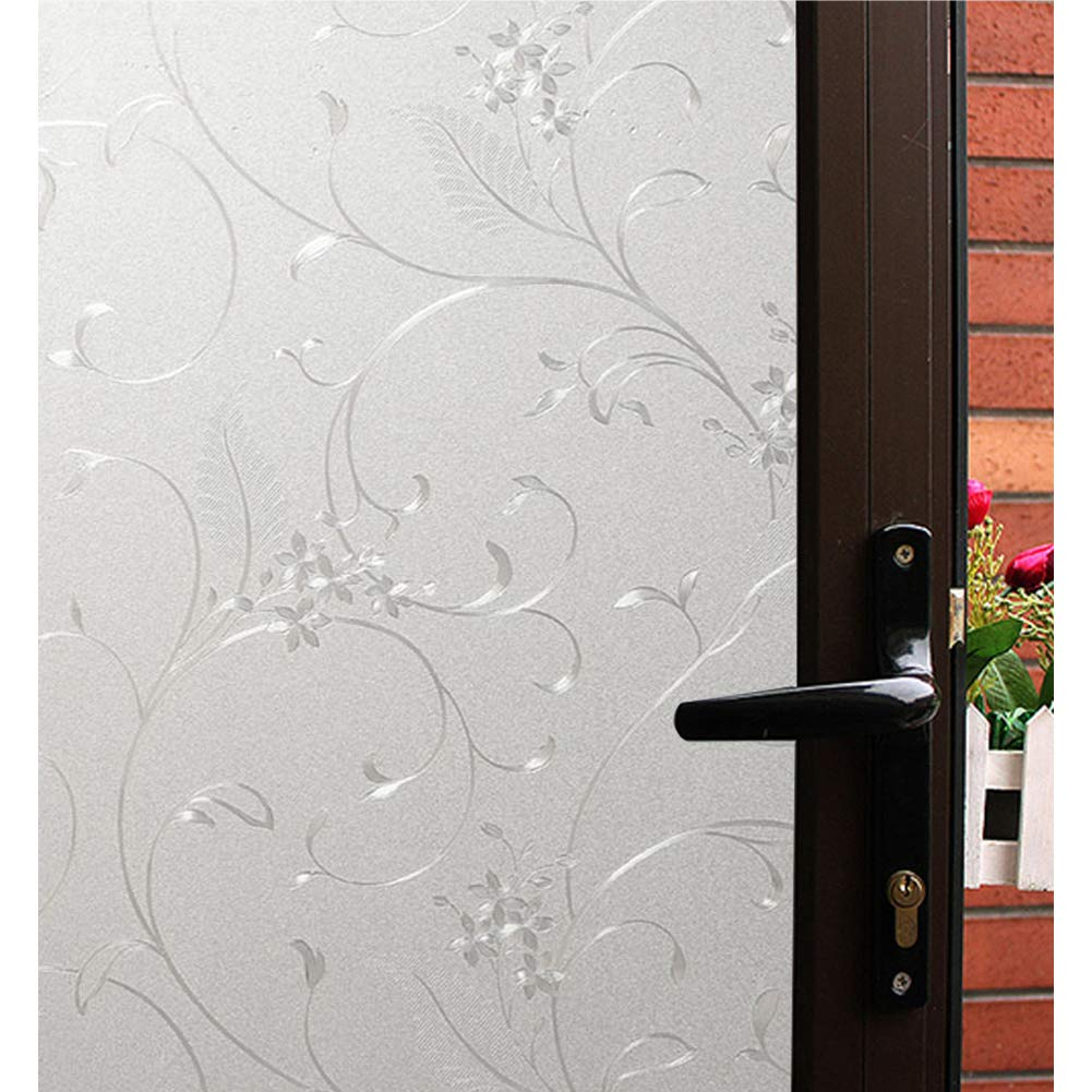 Mikomer Decorative Window Film Privacy Static Cling Glass Door Film, Non Adhesive Window Cling/Removable/Heat Control/Anti UV for Office and Home Decoration,35In. by 78.7In.