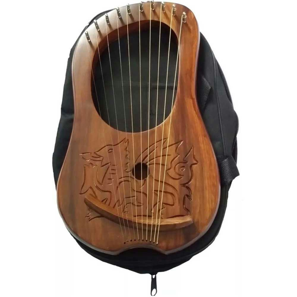Marca nueva Lira (Arpa grabado celta dragón de Gales/Lyra–Arpa de palisandro madera dragón House of Highland 77
