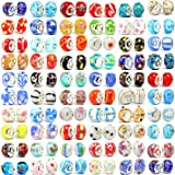 200pc Lot Silver Lampwork Murano Glass European Mix Compatible With Most Major Charm Beads and Charm Bracelets For Women and Girls