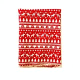 MagiDeal 1.6 Yards Christmas Tree Elk Deer Cotton Linen Sewing Fabric Red/Beige - Red, 150 x 50 cm