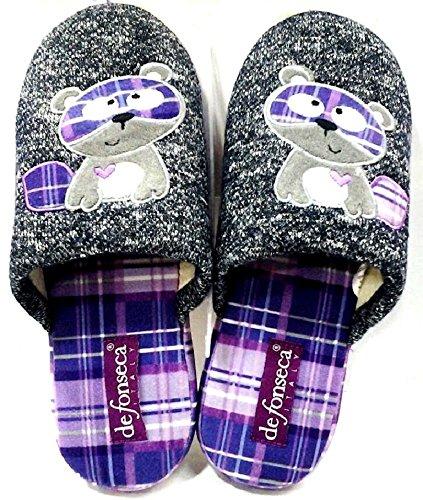 DE FONSECA ciabatte pantofole invernali da donna mod. ROMA TOP W53 BLU